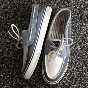 Blue and white Sperry boat shoes